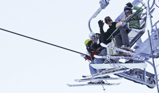Riding high on the Schweitzer Mountain Ski Resort lift.