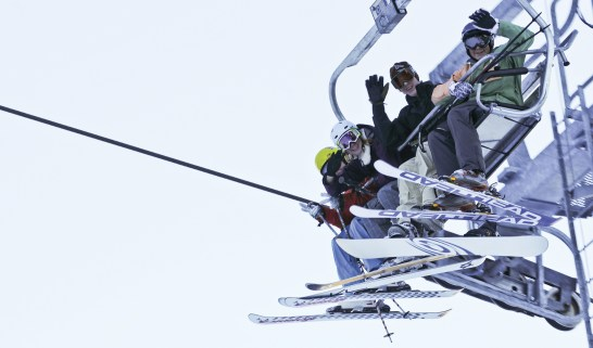 Riding high on the Schweitzer Mountain Ski Resort lift.