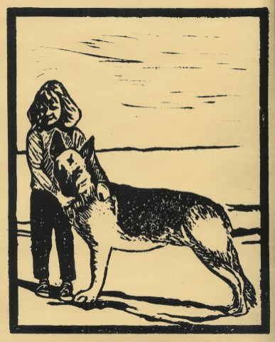 """""""Bill and I,1964""""   Linocut   8 x 10 inches"""