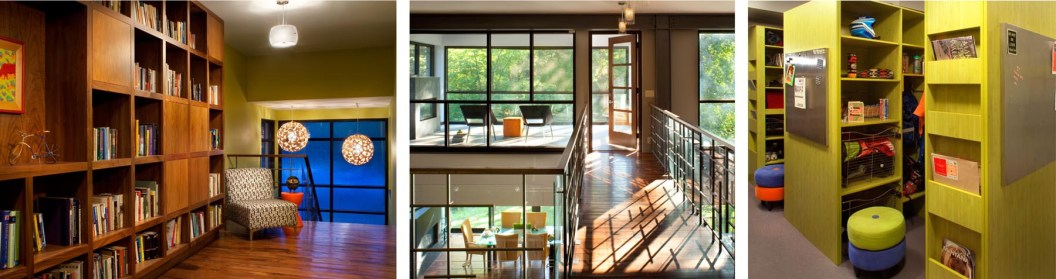 "Left: Cabinets built in Missoula by Stensrud Cabinet Company flank the upstairs hallway. The warm glow of the wood is nicely mirrored by the funky, modern lighting, and together they offer a counterpoint to the industrial-style windows. • Center: The owners wanted to retain one of their favorite Midwestern design features: the screened in porch. This modern version features a fireplace and a view of the park-like yard. • Right: ""The World's Largest Mudroom"" allows each family member to organize their soccer cleats, ski boots, bicycle helmets, work gloves, and anything else they might want to store in the custom-designed bins and cubbies. The mudroom also features a dog-sized shower, for the canine members of the family."