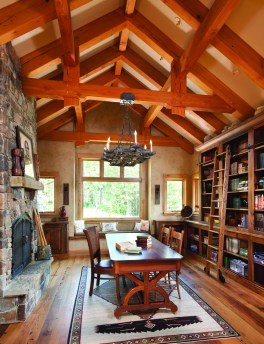 The antique library offers a fireplace, in-floor port for computer and audio for home, iPod and satellite radio.