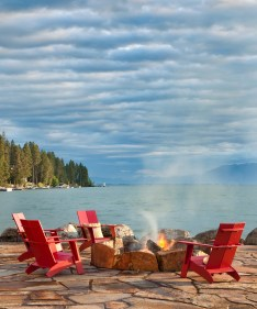The Swan Mountains and Flathead Lake make for a stunning view from the fire pit.