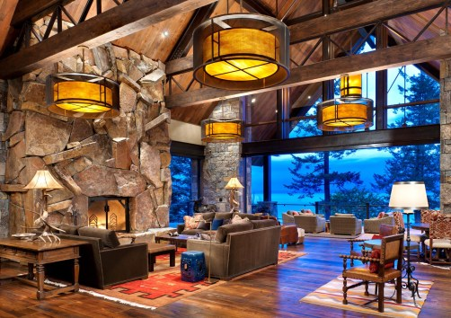 """The """"landslide"""" fireplace is a true, collaborative work of art, creating the illusion of motion."""