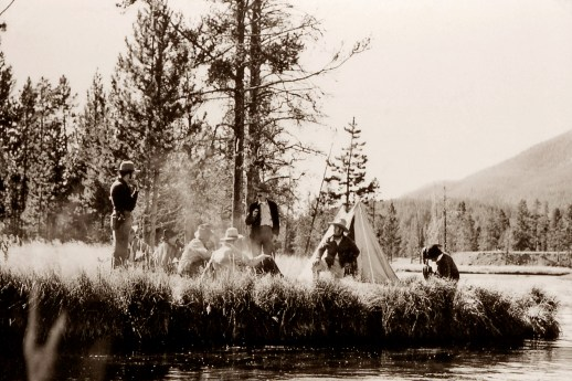"A re-enactment of Washburn-Langford camp and ""the Yellowstone Campfire"" where discussions about the future of the Yellowstone went from privatization to promoting it as the first national park. NPS photos"
