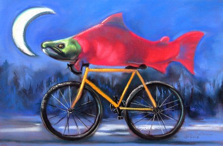 """""""Salmon Cycle""""   Soft Pastel   12 x 18 inches"""