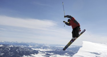 A skier launches himself into Slushman's Ravine at Bridger Bowl in Bozeman, Montana.