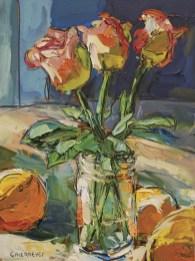 """Three Roses"" | Caleb Meyer | Oil on Canvas | 12"" x 9"""