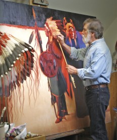Montana painter Tom Gilleon demonstrates his technique at the easel. Photo courtesy of Jackson Hole Chamber of Commerce