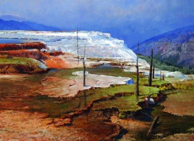 """Travertine Terraces"" | Oil on Linen | 30"" x 40"""