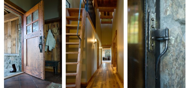 Left: The oversized custom-made front door welcomes guests. Center: The interior spaces are clean-lined but not austere.