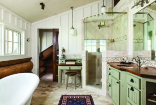 The master bathroom includes Norwegian paneling made from poplar for added texture and structure.
