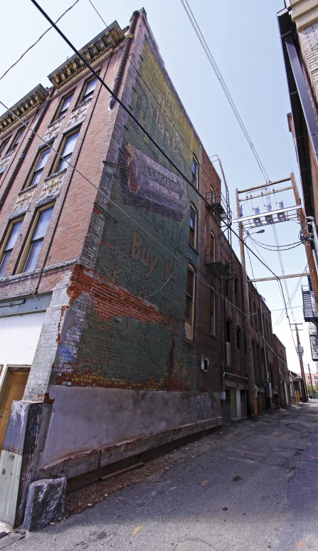 Across from the Finlen Hotel a vintage Wrigley's gum sign can be seen like a ghost from Butte's prosperous past.