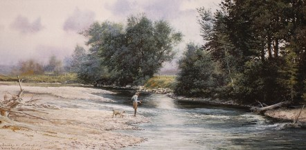 """""""Where the Gallatin Slows""""   watercolor   6.5 x 12 inches"""