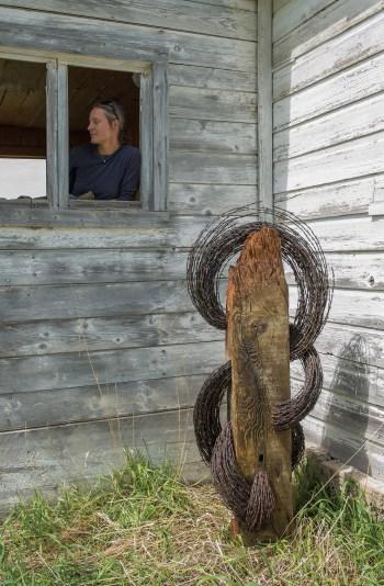"""Copper City"" | Jennifer Pulchinski | Barbed Wire & Wood | 5' tall"