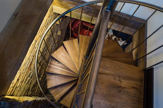 The 5,300-squarefoot home (including the garage) has four bedrooms and four-and-a-half baths. A unique attribute is the spiral staircase that leads to a cozy wine cellar.