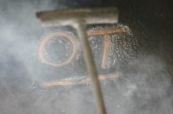 The Crighton's main brand —OT is seared into the right rib.