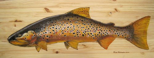 """""""Brown Trout""""   Acrylic on Pine   18 x 48 inches"""