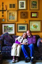 """Jessica and Jack in their Big Timber home, surrounded by artwork that recalls important moments from their lives. """"Life is good. I recommend it,"""" Jessica said."""