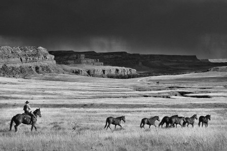 Wayne Graves, a neighbor to the Willow Creek Ranch, moves horses on the north side of the 70-mile long Red Wall near Kaycee, Wyoming.