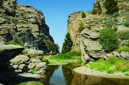 Devil's Gate is an iconic geological feature along the Oregon Trail; a glimpse into the narrow chasm was eagerly anticipated by pioneers. Photo by Jeff Erickson