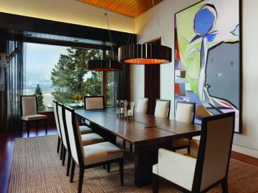 The dining room opens straight out into the great outdoors through bi-folding doors.