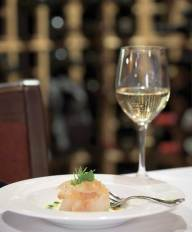 Fish and Sip: Halibut Lox with yuzu crème fraiche sorbet and barrel-aged fish sauce, and of course a fine wine.