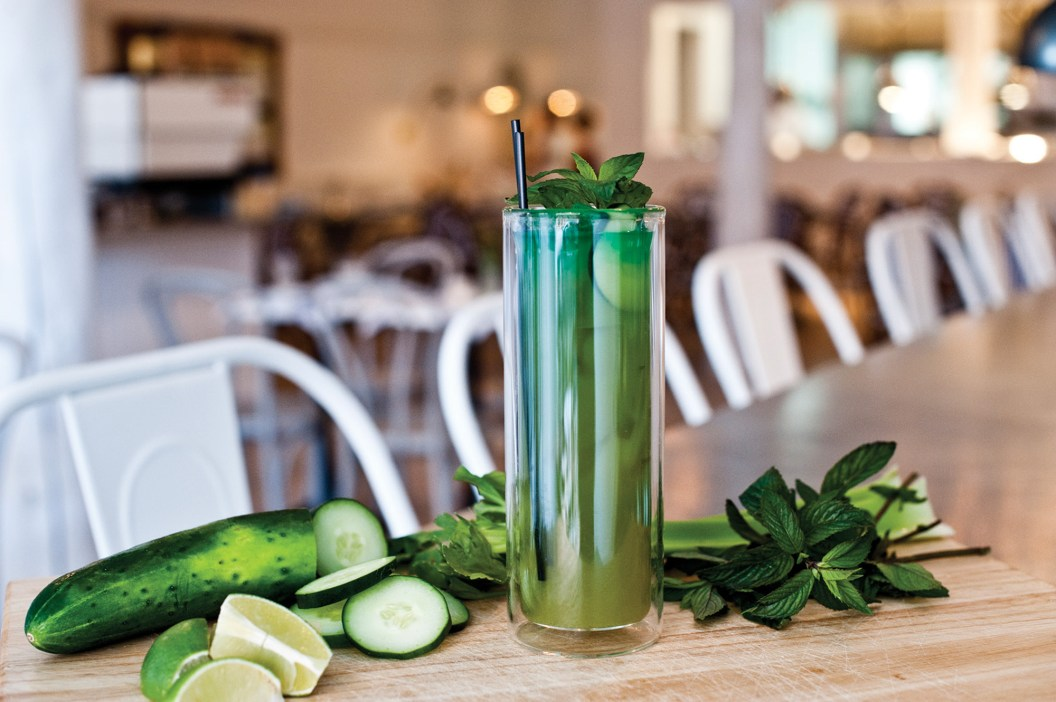 """Incorporating the freshest ingredients even into the beverages, Ox Pasture offers the Lawn Mower """"Mocktail,"""" which combines cucumber, celery, and mint bitters with soda and simple syrup."""