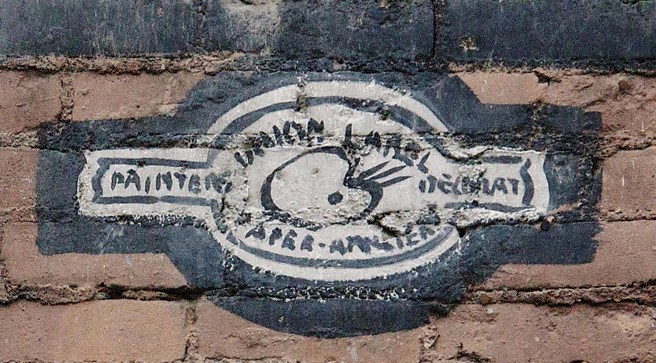 "This ""union label"" closeup was extracted from the Sweet Caporal Cigarettes sign in Butte."