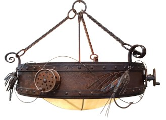 Fly lines unfurling and bowstrings pulled taut show how much movement can be achieved through the artistic shaping of metal in these light fixtures by Fire Mountain Forge.