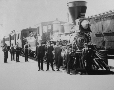 The first Great Northern passenger train arrives in Whitefish, Montana, circa 1892. | courtesy of the Stumptown Historical Society