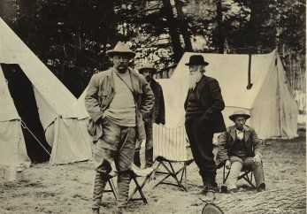 President Roosevelt spent 16 days in Yellowstone National Park, often in the company of conservationist and author John Burroughs (standing, second from right).   Photo courtesy of Theodore Roosevelt Collection, Harvard College Library