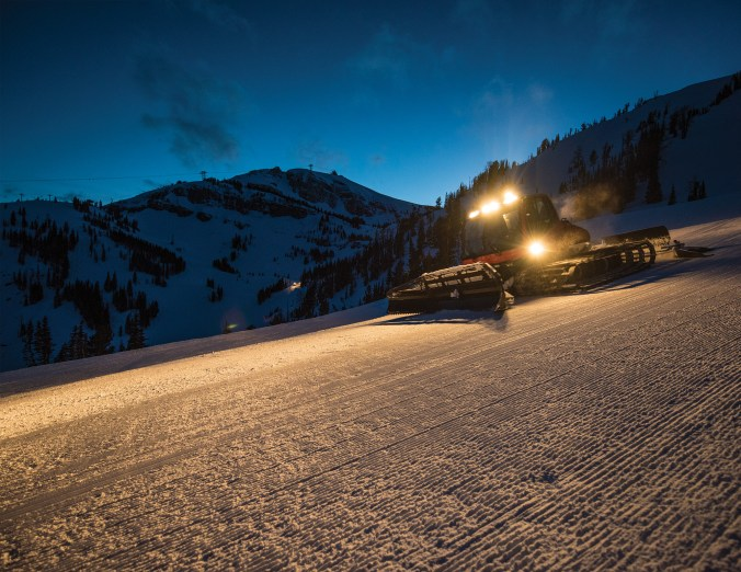 Jackson Hole Mountain Resort groomers work the slopes at night to get them ready for the next day's skiers.