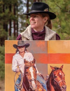 """Artist Julie T. Chapman with her 40"""" x 30"""" oil, """"Girlpower."""""""