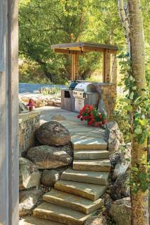 The homeowners wanted the outdoors to feel like a part of their home environment. A quick trip outside to cook dinner on the grill helps achieve this effect.