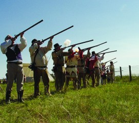 Opening ceremonies at the Lewis and Clark Festival include a black powder salute by the Lewis and Clark Honor Guard.