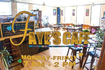 A sun-filled corner classroom now houses Faye's Cafe.