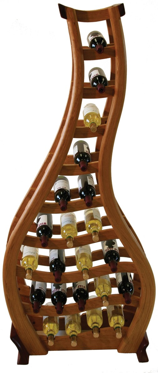 """""""Tipsy,"""" a wine rack made of cherry and bloodwood."""