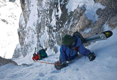 Silas Chickering- Ayers, Todd Ligare and Griffin Post ascending the Newc Couloir on Buck Mountain in Grand Teton National Park. Photo by Chris Figenshau