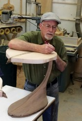 "Tim Carney works on two aspen leaf-shaped end tables for the upcoming ""Elements"" exhibit at 1+1=1 Gallery in Helena."