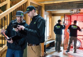 BTI Log Home Care conducts thermal imaging tests which can help detect draft areas in the logs. Photo courtesy BTI Log Home Care