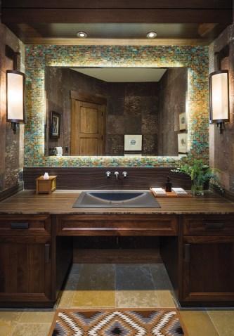 Montana Tile & Stone designer Sarah Garofalo chose a jewelrygrade turquoise mosaic for the men's bathroom in the main living area.