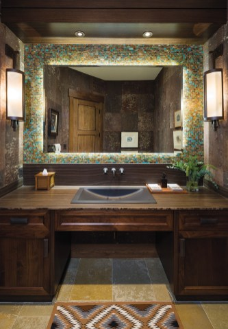 Montana Tile & Stone designer Sarah Garofalo chose a jewelrygrade turquoise mosaic for the men's bathroom in the main living area.