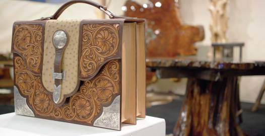 Silversmith Matt Litz used tooled leather and silver elements to enhance a modern handbag. Photo by New Thought Media