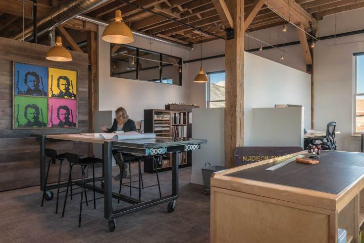 A central work space allows the Miller Architects team to collaborate on ongoing projects.