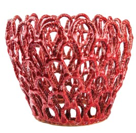 "Moon works with thin, delicate coils to create large pieces that defy gravity and the kiln's intense heat. At 14 inches tall and 15 inches in diameter, ""Red Planter"" is an example of the artist's technical dexterity."
