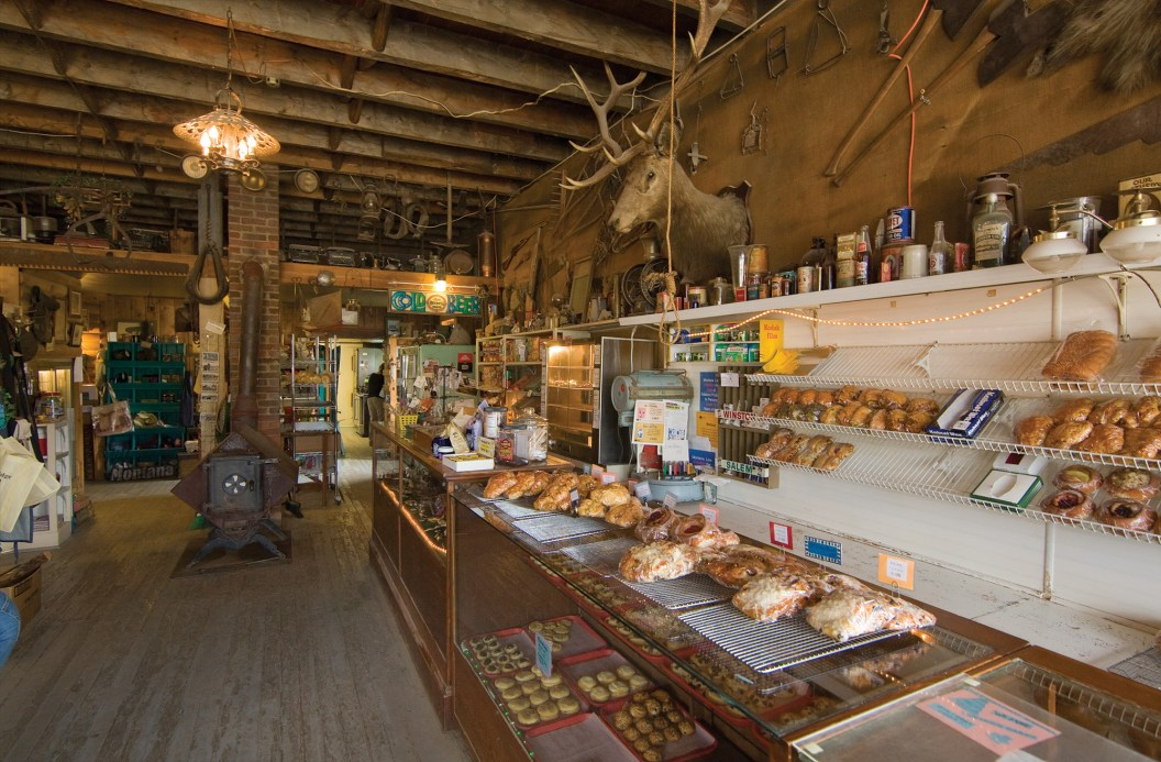Huckleberry bear claws, apple turnovers, and a wide variety of cookies line the racks inside the Mercantile.