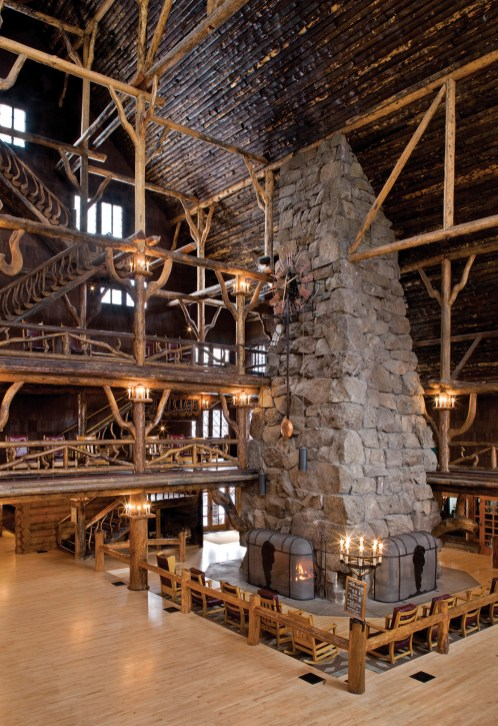 Some 500 tons of rock was used to construct the massive stone fireplace, which stands as an example of the Golden Age of rustic resort architecture.