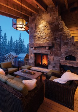 "An outdoor fireplace is the perfect place to relax after a day on the slopes. ""These are truly custom homes in every aspect. Every home is specific to the location, the site, the typography,"" said John Seelye, the builder."