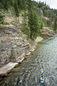 Beautiful cliffs provide for scenic paddling on much of the Blackfoot.