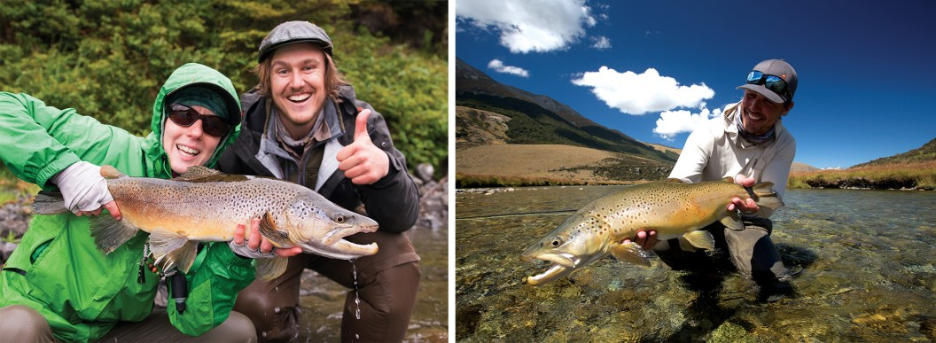 Christine Marozick, of Bozeman, Montana, and Jack Kos, of Christchurch, New Zealand, pose with a large brown trout caught in New Zealand's Southern Alps. By Ben Pierce | Brown trout caught with a skinny water cicada victim (Oreti River, New Zealand) By Brett Seng